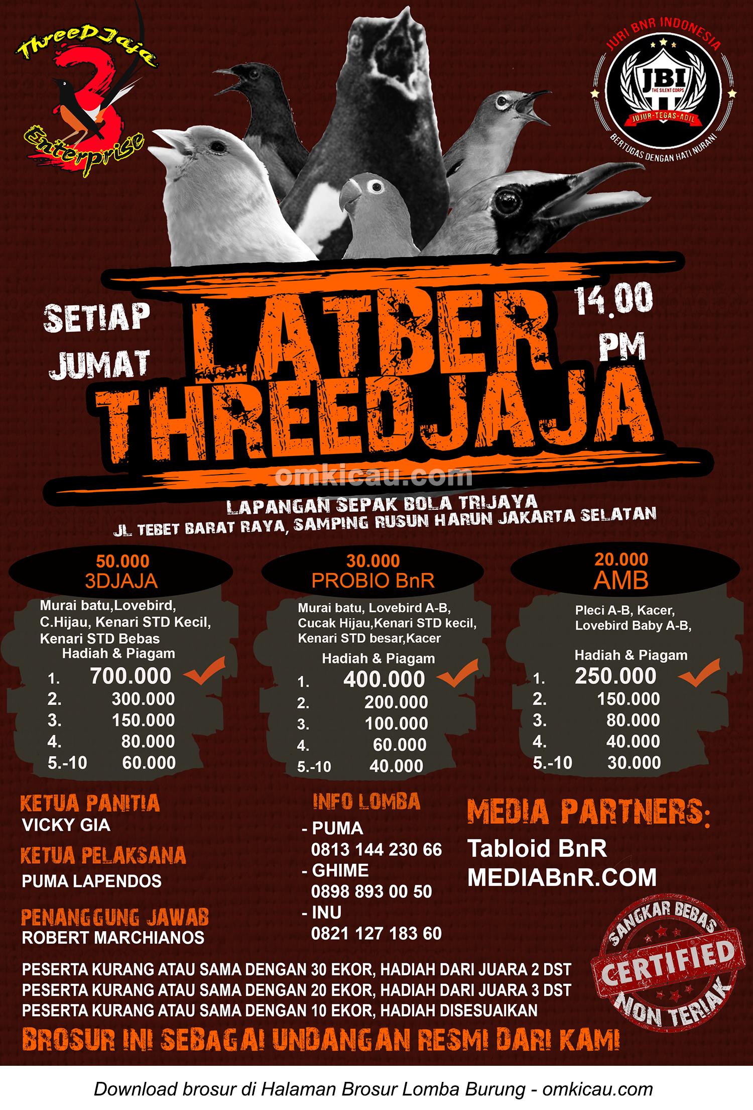 Brosur Latber ThreeDjaja Jakarta setiap Jumat siang