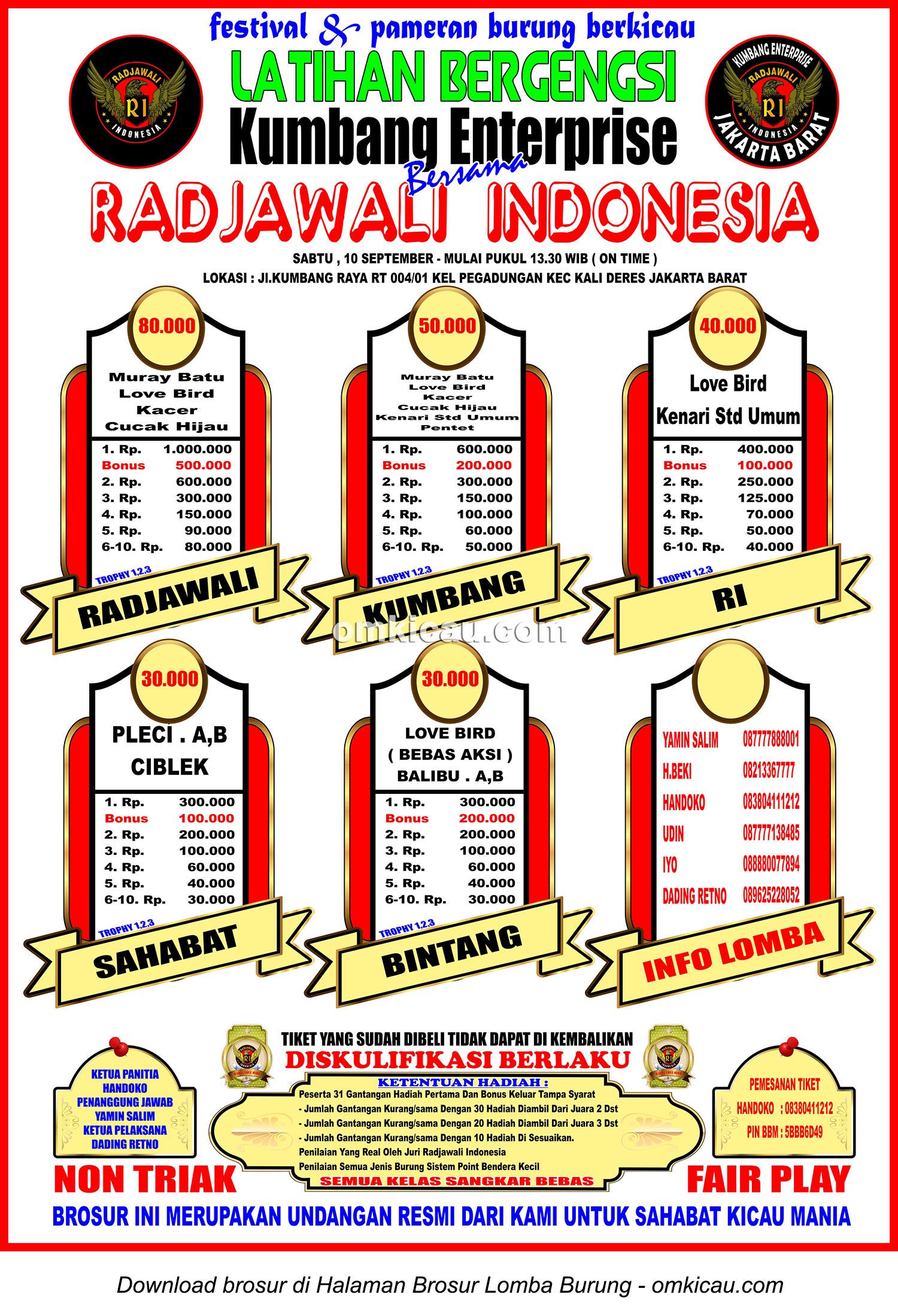 Brosur Latihan Bergengsi Kumbang Enterprise bersama Radjawali Indonesia, Jakarta Barat, 10 September 2016