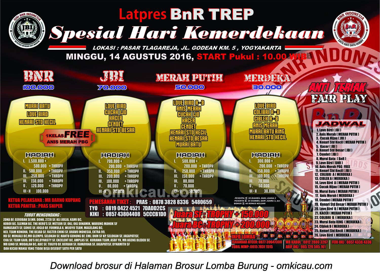 Brosur Latpres BnR Tlagareja Spesial Hari Kemerdekaan, Jogja, 14 Agustus 2016