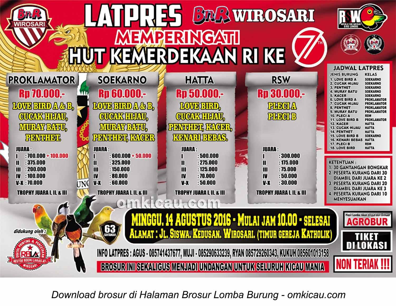 Brosur Latpres BnR Wirosari Memperingati HUT Kemerdekaan RI, Grobogan, 14 Agustus 2016