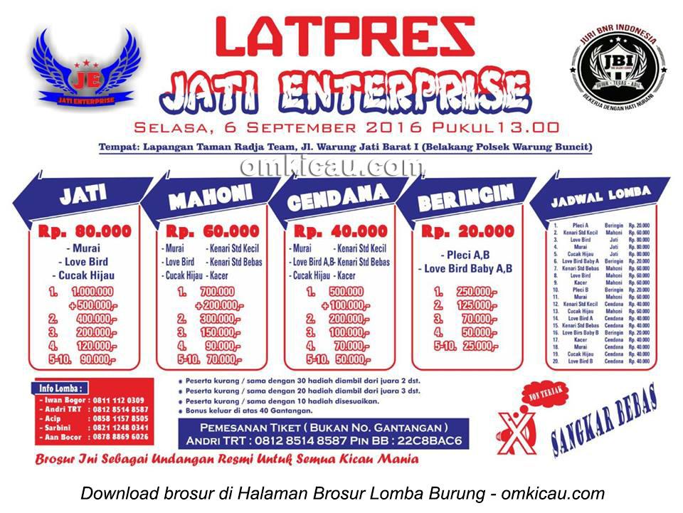 Brosur Latpres Burung Berkicau Jati Enterprise, Jakarta Selatan, 6 September 2016