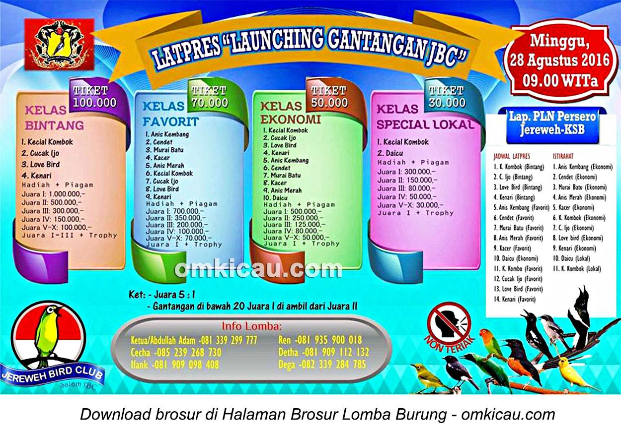 Brosur Latpres Burung Berkicau Launching Gantangan JBC, Sumbawa Barat, 28 Agustus 2016