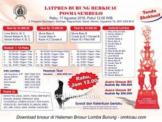 Brosur Latpres Burung Berkicau Posma Sembego, Jogja, 17 Agustus 2016