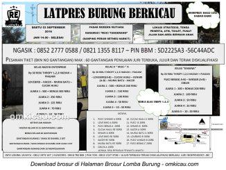 Brosur Latpres Burung Berkicau Rasyid Enterprise, Tangerang, 3 September 2016