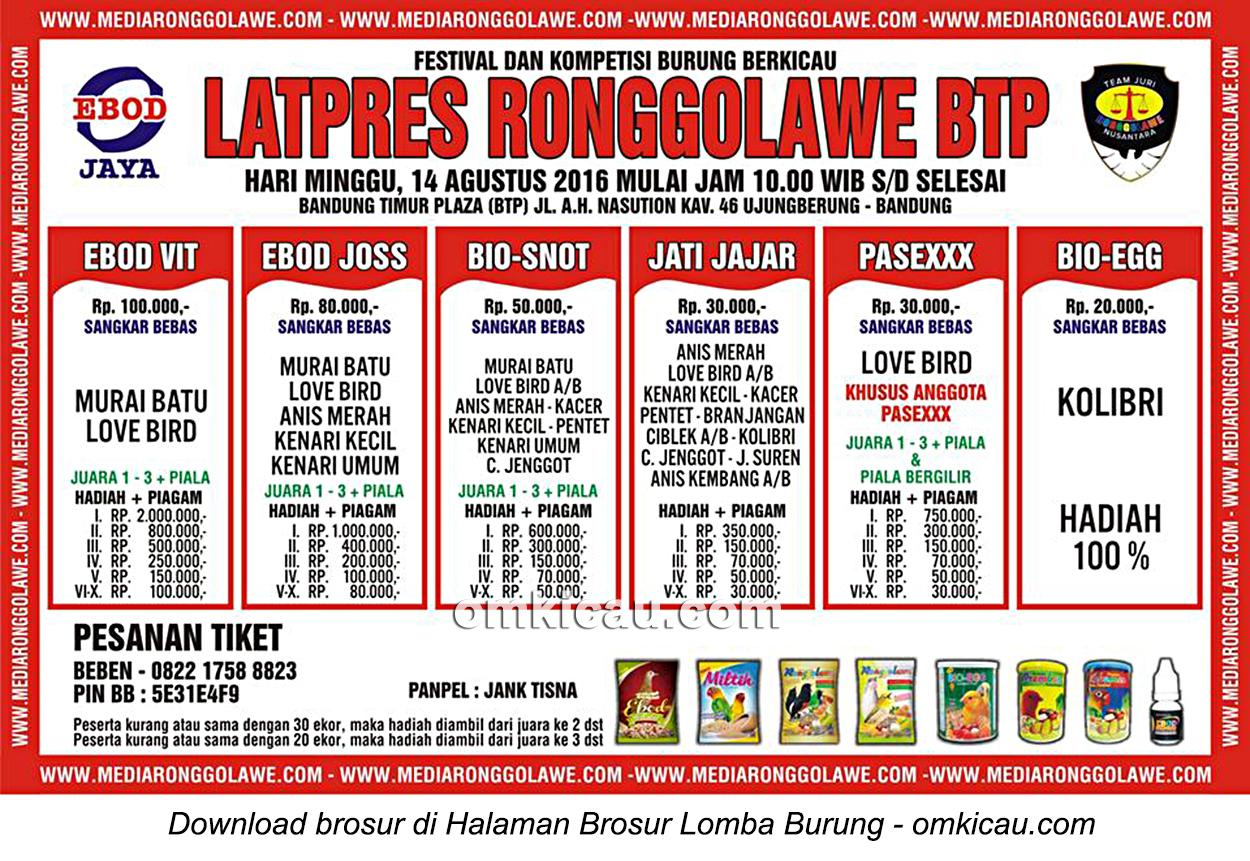 Brosur Latpres Burung Berkicau Ronggolawe BTP, Bandung, 14 Agustus 2016