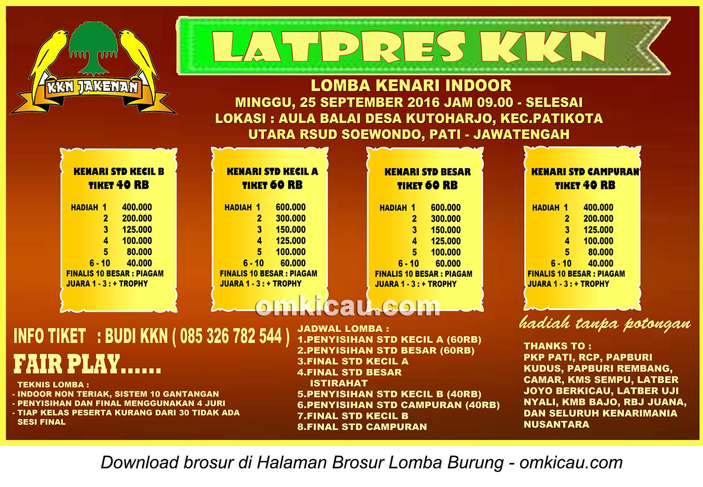 Brosur Latpres Burung Kenari KKN Jakenan, Pati, 25 September 2016