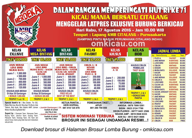 Brosur Latpres Exclusive Kicau Mania Bersatu Citalang (KMBC), Purwakarta, 17 Agustus 2016