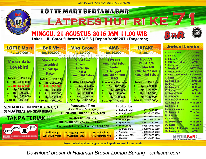 Brosur Latpres HUT RI Ke-71 Lotte Mart BnR Tangerang, 21 Agustus 2016