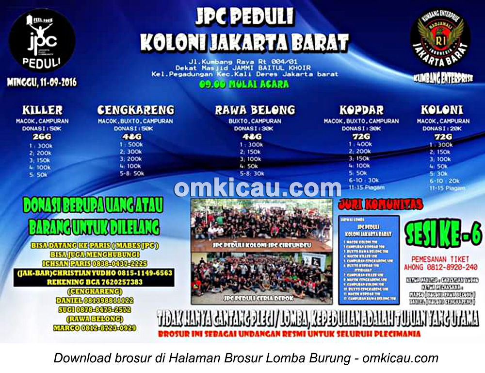 Brosur Latpres JPC Peduli Koloni Jakarta Barat, 11 September 2016