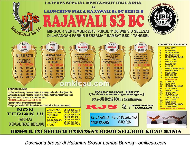 Brosur Latpres Special Menyambut Idul Adha Rajawali S3 BC, Tangsel, 4 September 2016