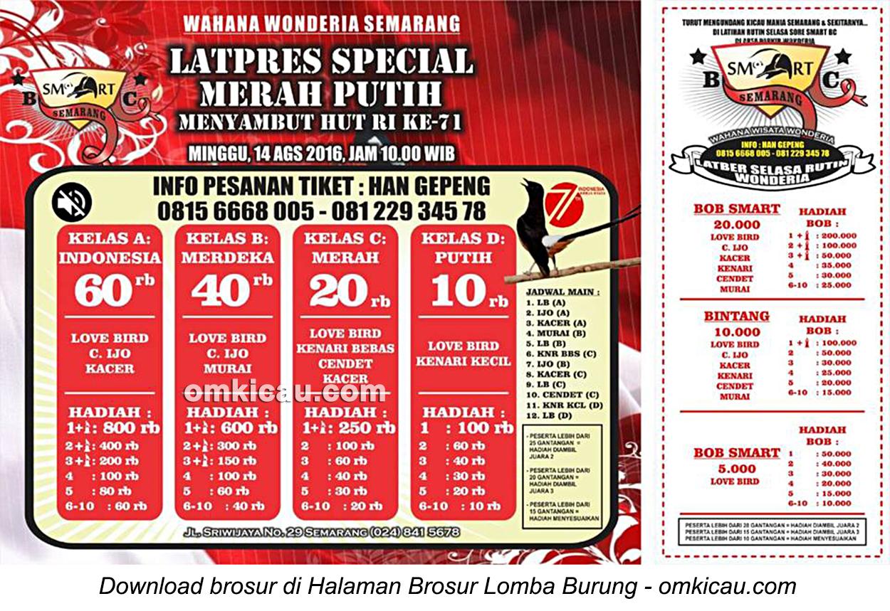 Brosur Latpres Speciial Merah Putih Smart Wonderia Semarang, 14 Agustus 2016