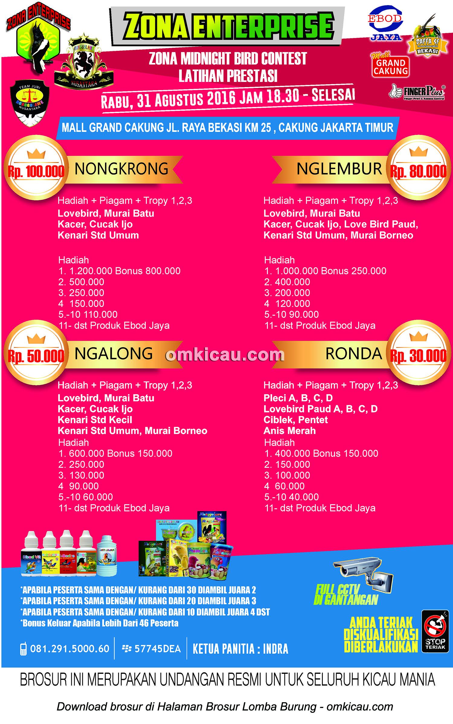 Brosur Latpres Zona Midnight Bird Contest, Jakarta Timu, 31 Agustus 2016