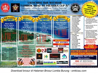 Brosur Launching BnR Mataram Lombok Road to Presiden Cup IV, Mataram, 18 September 2016