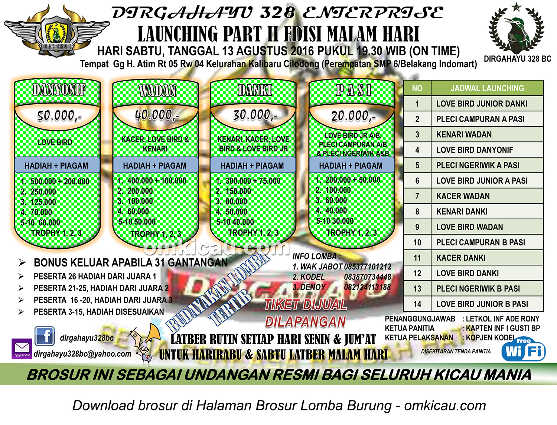 Brosur Launching Part II Edisi Malam Hari Dirgahayu 328 Enterprise, Depok, 13 Agustus 2016