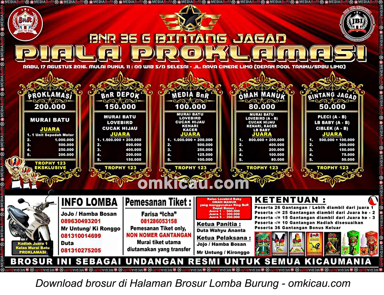 Brosur Lomba Burung Berkiau BnR 36 Bintang Jagad Piala Proklamasi, Depok, 17 Agustus 2016