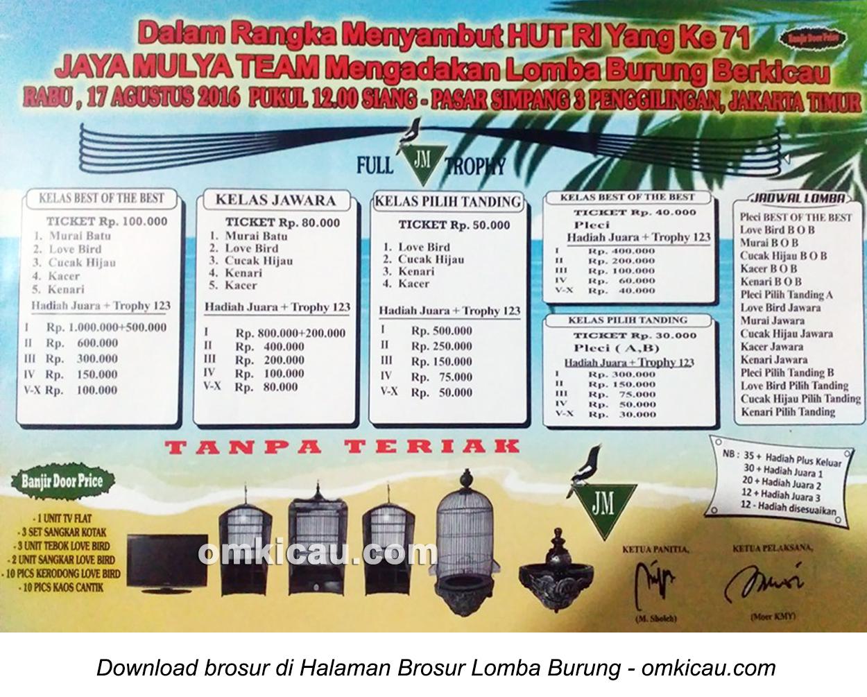 Brosur Lomba Burung Berkiau Jaya Mulya Team, Jakarta Timur, 17 Agustus 2016