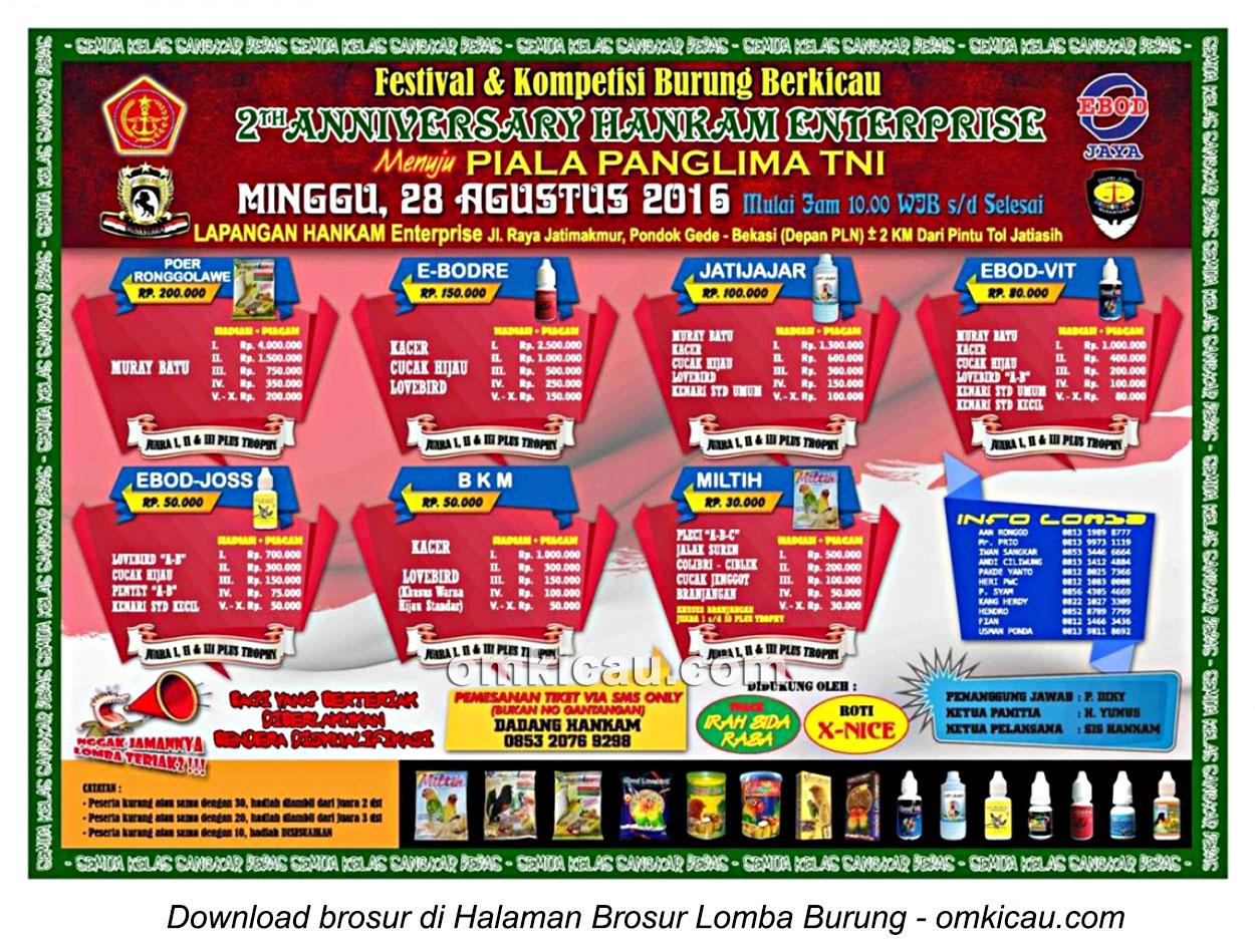 Brosur Lomba Burung Berkicau 2nd Anniversary Hankam Enterprise, Bekasi, 28 Agustus 2016