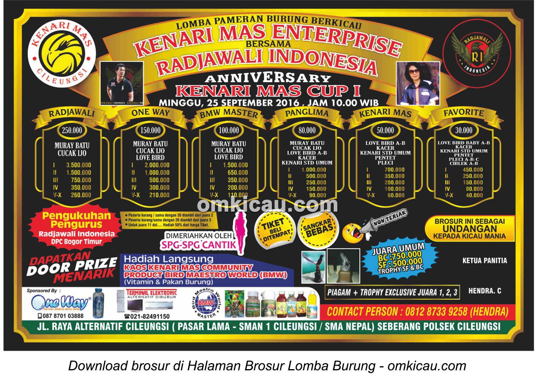 Brosur Lomba Burung Berkicau Anniversary Kenari Mas Cup I, Cileungsi, 25 September 2016