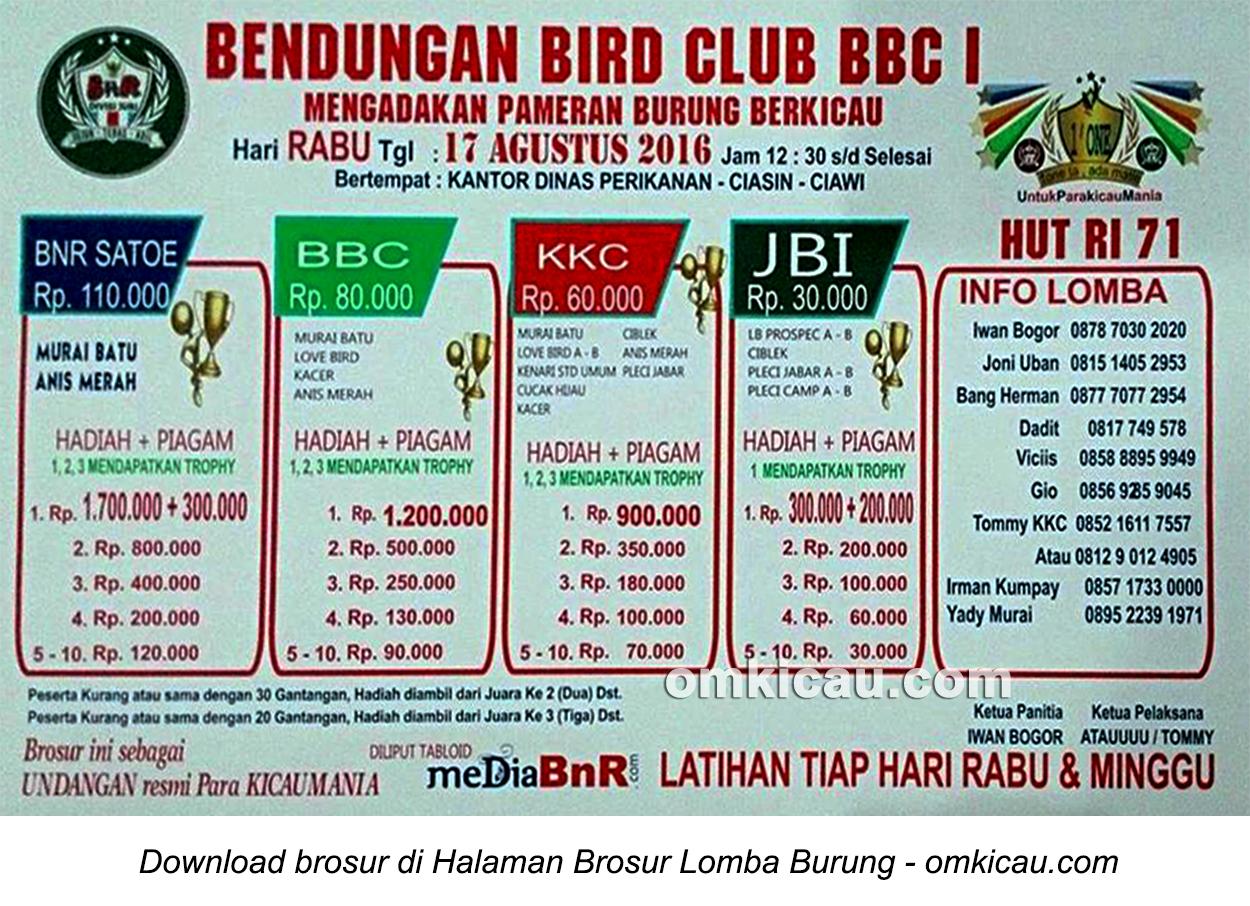 Brosur Lomba Burung Berkicau Bendungan Bird Club, Ciawi, 17 Agustus 2016
