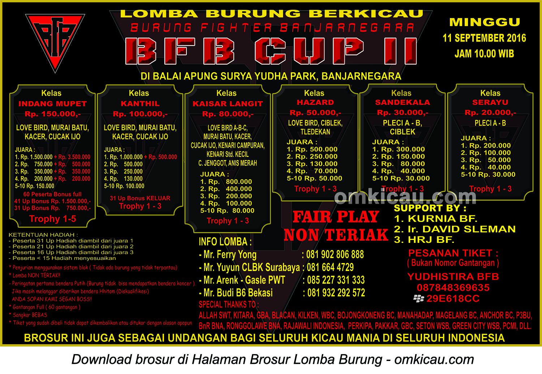 Brosur Lomba Burung Berkicau BFB Cup II, Banjarnegara, 11 September 2016