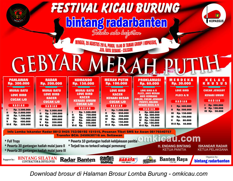Brosur Lomba Burung Berkicau Gebyar Merah Putih Bintang Radar Banten, Serang, 28 Agustus 2016