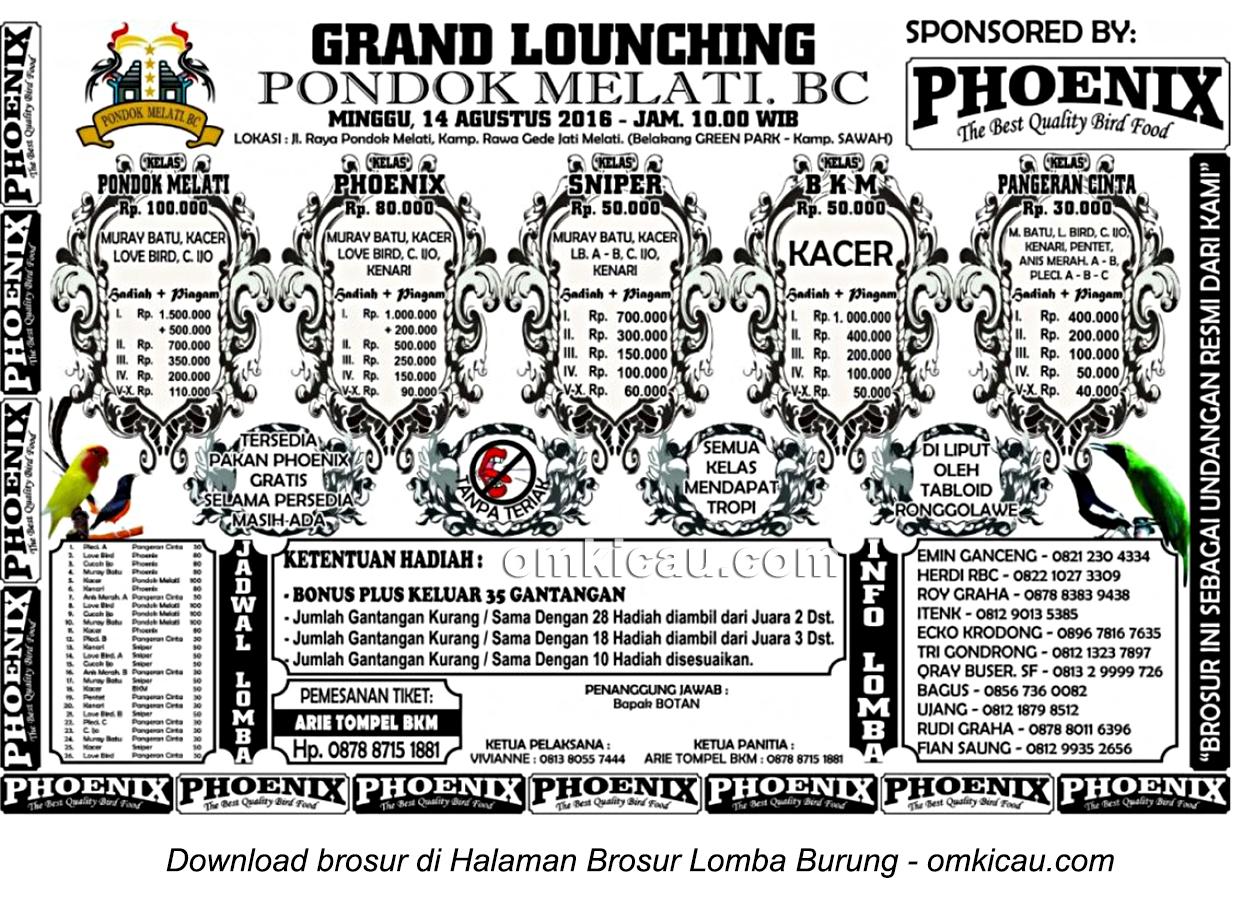 Brosur Lomba Burung Berkicau Grand Launching Pondok Melati BC, Bekasi, 14 Agustus 2016