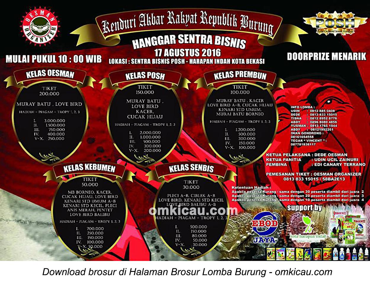 Brosur Lomba Burung Berkicau Hanggar Sentra Bisnis, Bekasi, 17 Agustus 2016