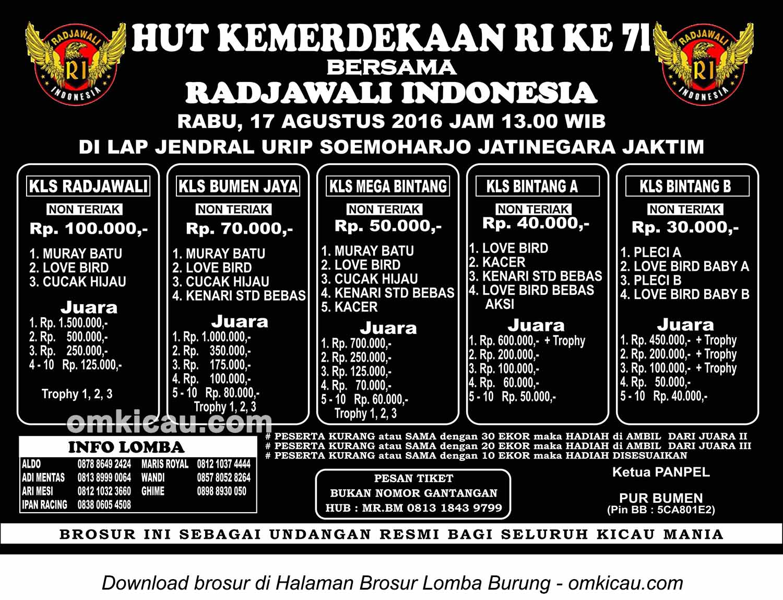 Brosur Lomba Burung Berkicau HUT Kemerdekaan RI bersama Radjawali Indonesia, Jakarta Timur, 17 Agustus 2016
