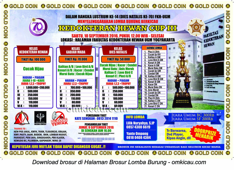 Brosur Lomba Burung Berkicau Kedokteran Hewan Cup, Jogja, 10 September 2016