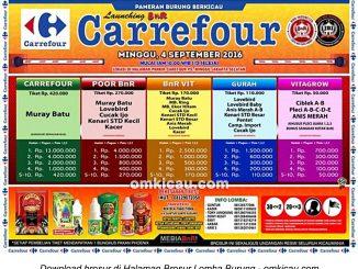 Brosur Lomba Burung Berkicau Launching BnR Carrefour, Jakarta Selatan, 4 September 2016