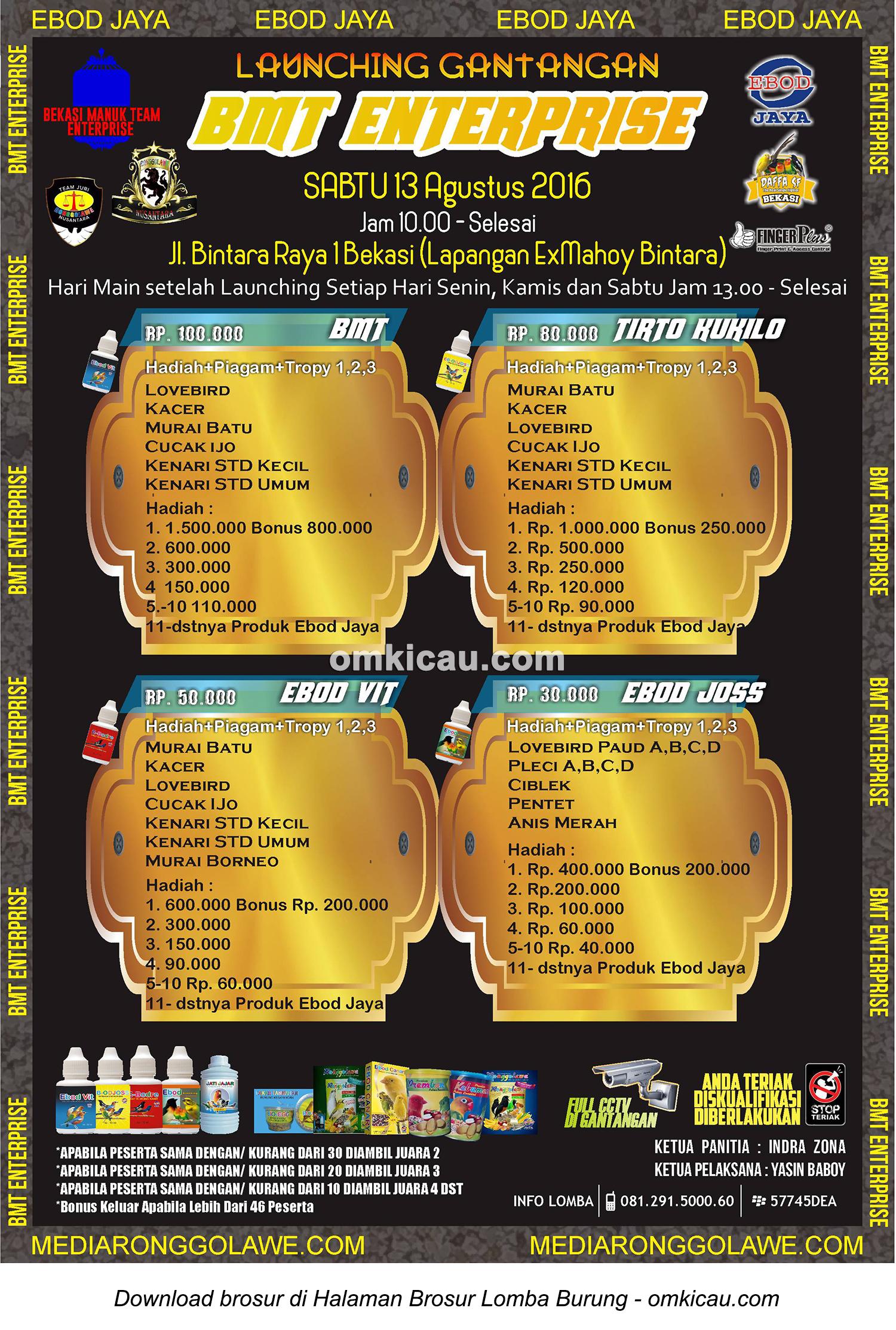 Brosur Lomba Burung Berkicau Launching Gantangan BMT Enterprise, Bekasi, 13 Agustus 2016