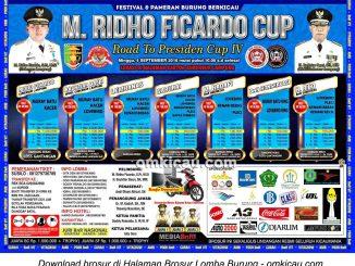 Brosur Lomba Burung Berkicau M Ridho Ficardo Cup, Bandarlampung, 4 September 2016