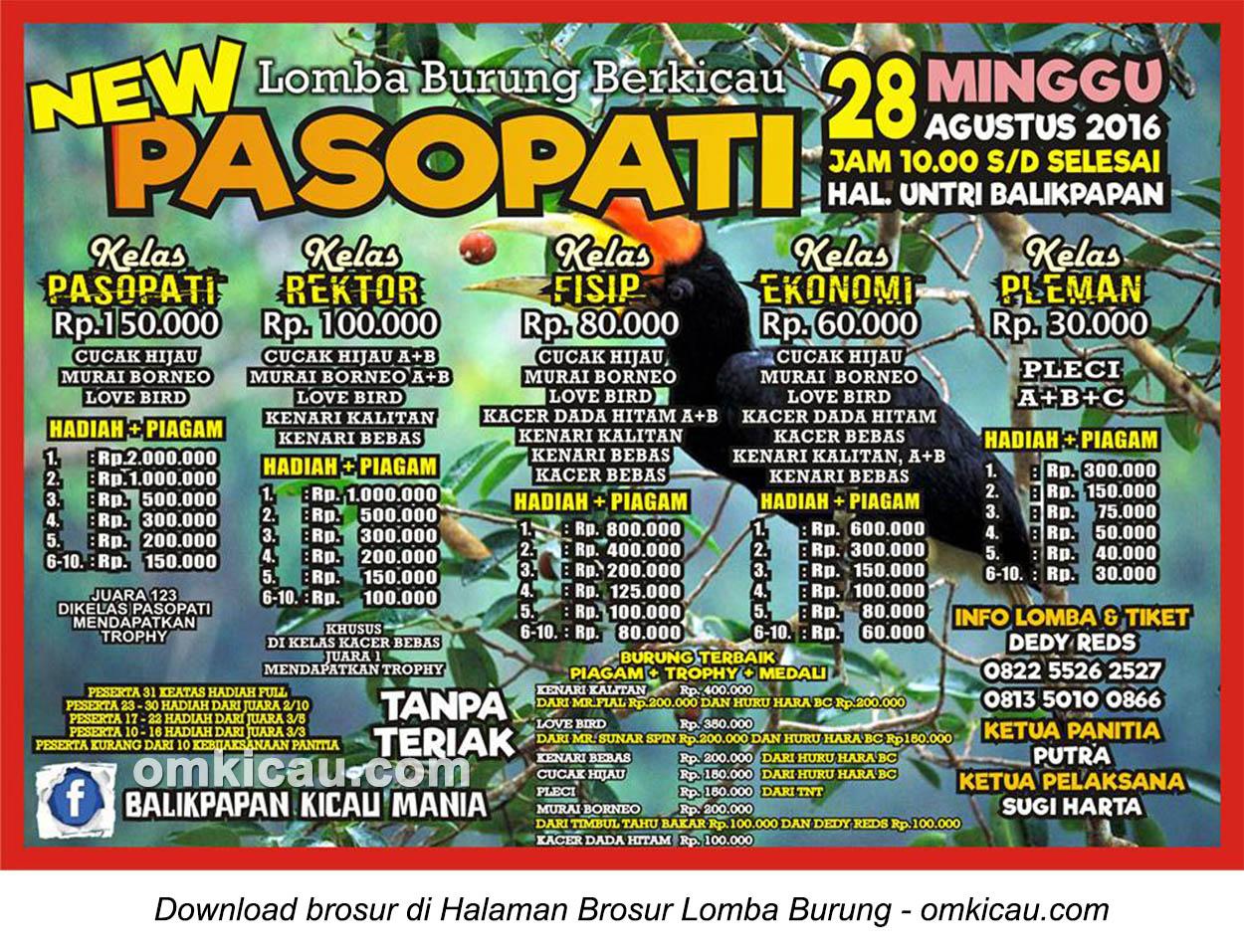 Brosur Lomba Burung Berkicau New Pasopati, Balikpapan, 28 Agustus 2016