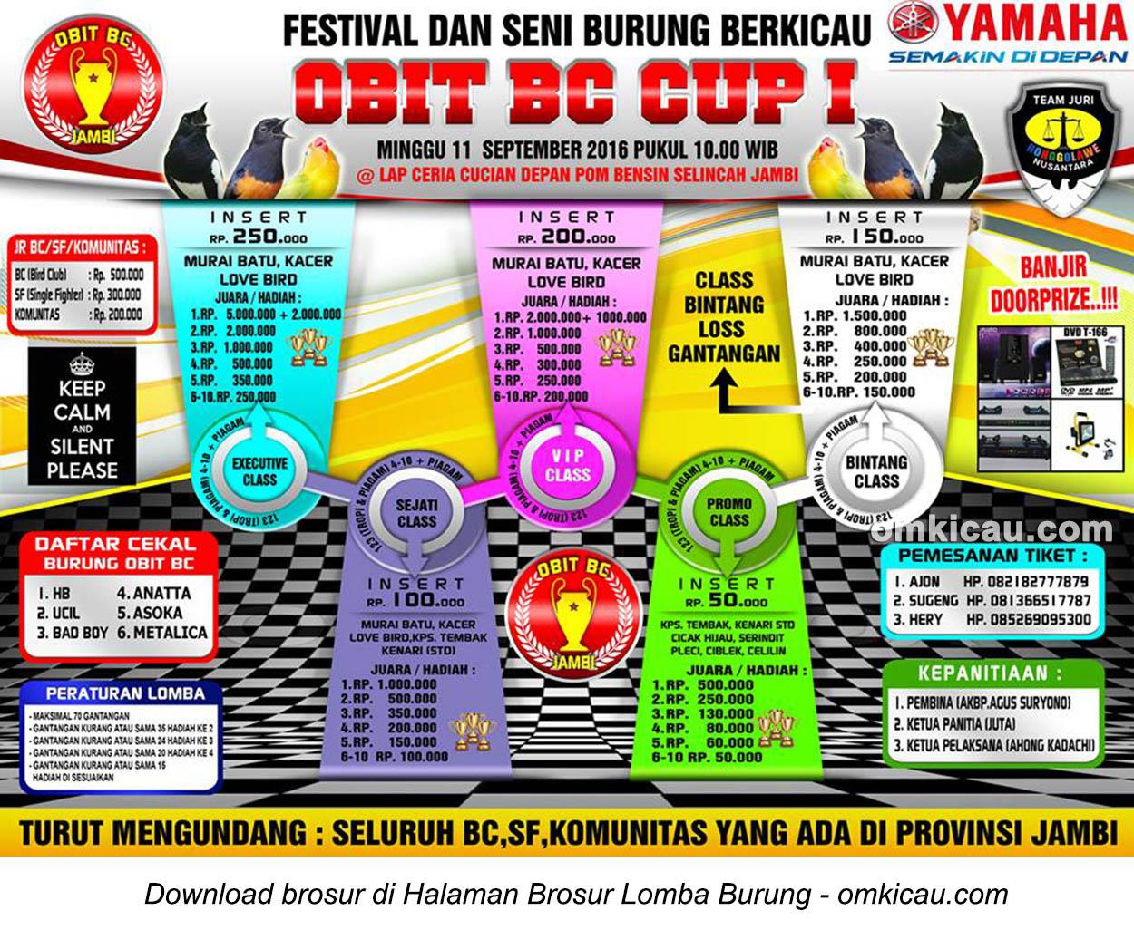 Brosur Lomba Burung Berkicau Obit BC Cup 1, Jambi, 11 September 2016