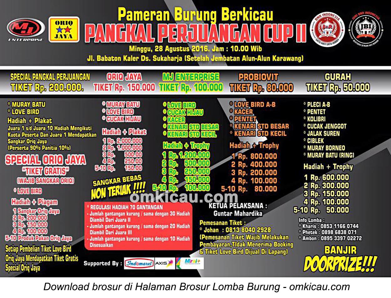 Brosur Lomba Burung Berkicau Pangkal Perjuangan Cup II, Karawang, 28 Agustus 2016