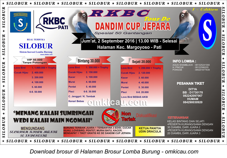 Brosur Lomba Burung Berkicau RKBC Tour de Dandim Cup Jepara-1st Edition, Pati, 2 September 2016