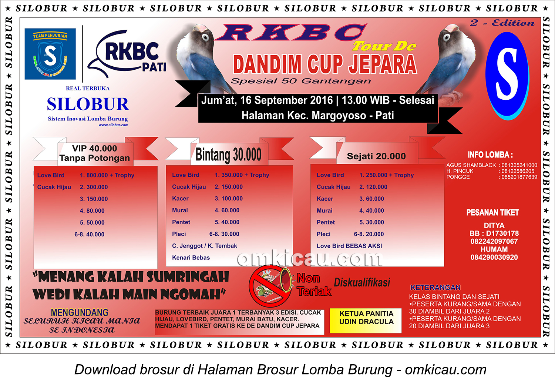 Brosur Lomba Burung Berkicau RKBC Tour de Dandim Cup Jepara-2nd Edition, Pati, 16 September 2016