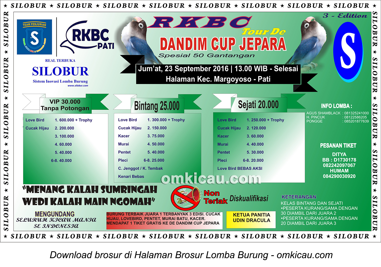 Brosur Lomba Burung Berkicau RKBC Tour de Dandim Cup Jepara-3rd Edition, Pati, 23 September 2016