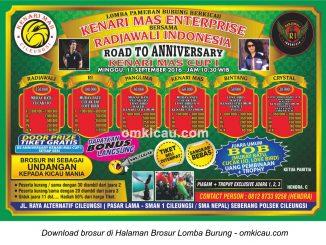Brosur Lomba Burung Berkicau Road to Anniversary Kenari Mas Cup I, Cileungsi, 11 September 2016
