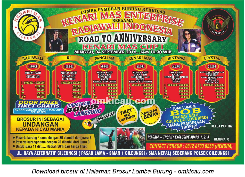 Brosur Lomba Burung Berkicau Road to Anniversary Kenari Mas Cup I, Cileungsi, 4 September 2016