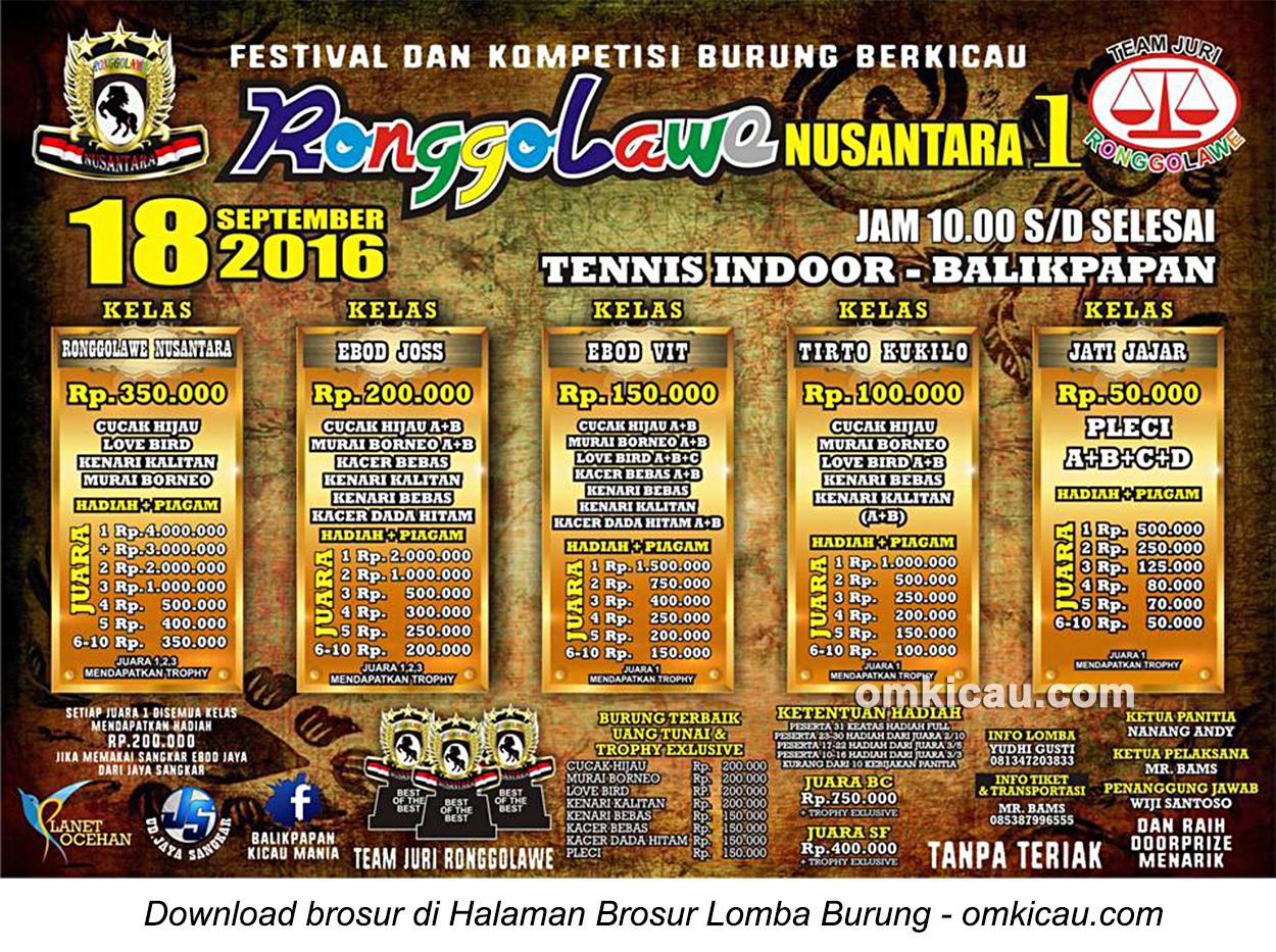 Brosur Lomba Burung Berkicau Ronggolawe Nusantara 1, Balikpapan, 18 September 2016