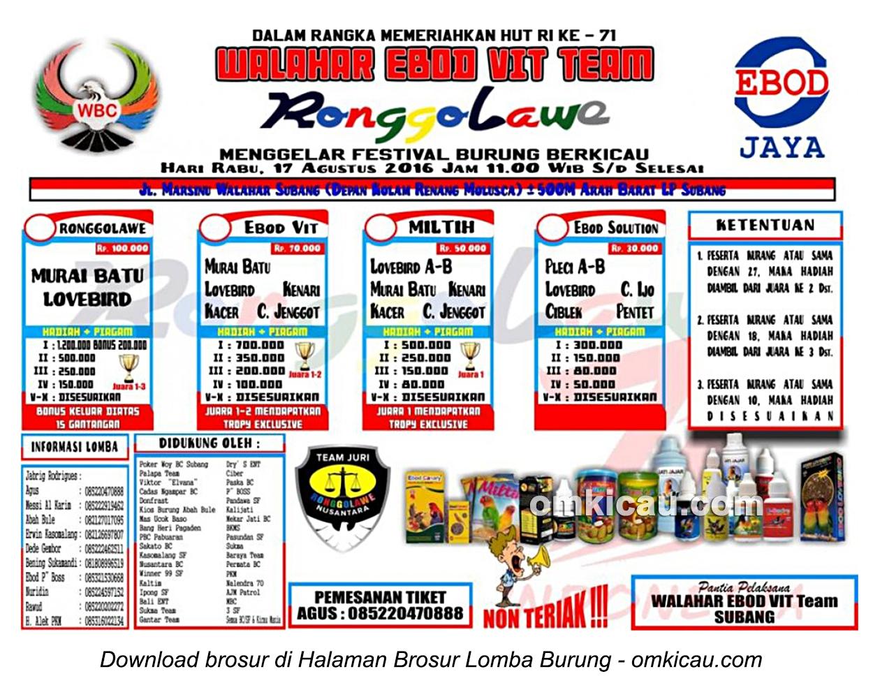Brosur Lomba Burung Berkicau Walahar Ebod Vit Team, Subang, 17 Agustus 2016