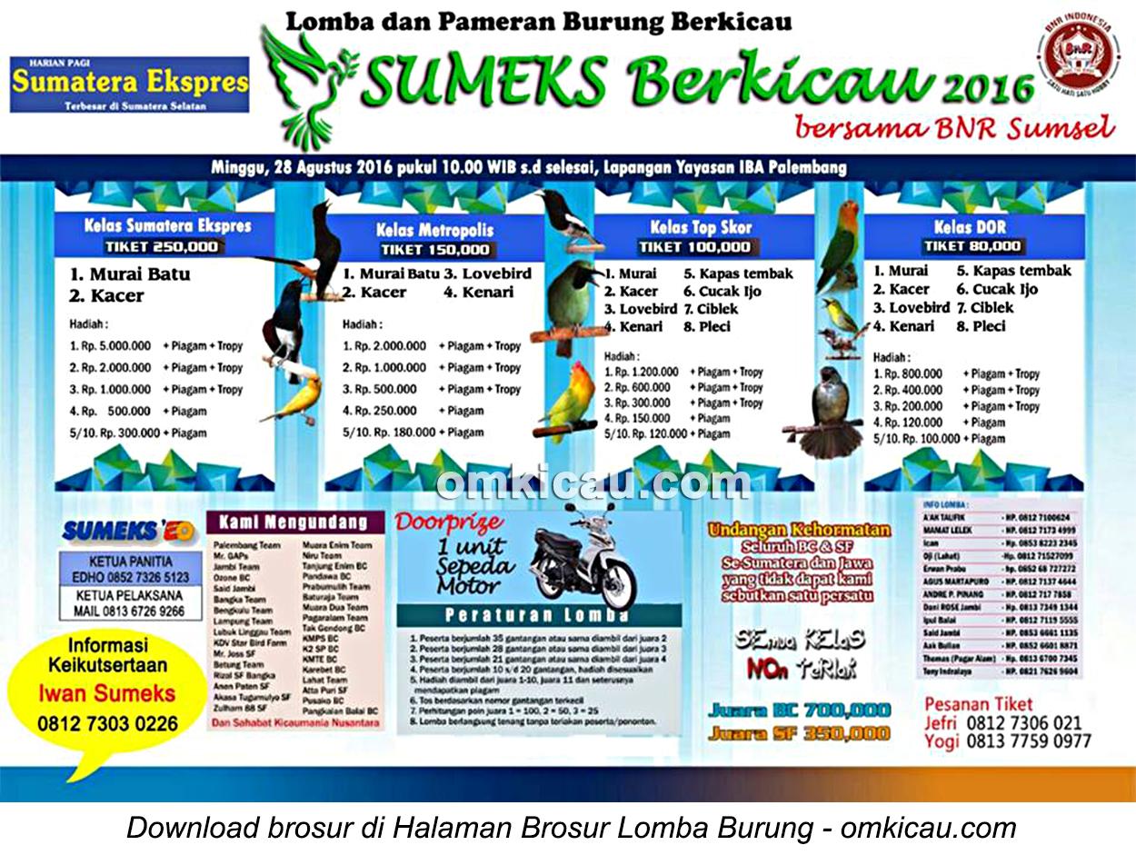 Brosur Lomba Burung Sumeks Berkicau, Palembang, 28 Agustus 2016