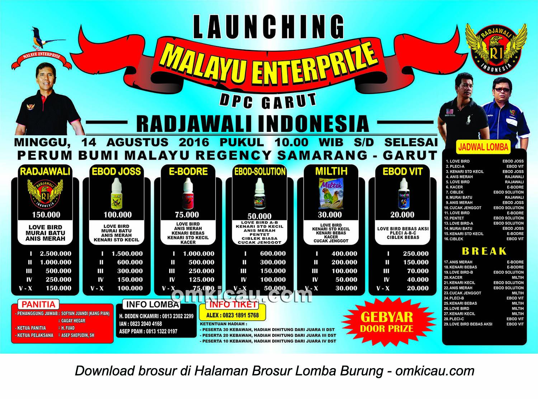 Brosur Malayu Enterprise - Launching Radjawali Indonesia DPC Garut, 14 Agustus 2016