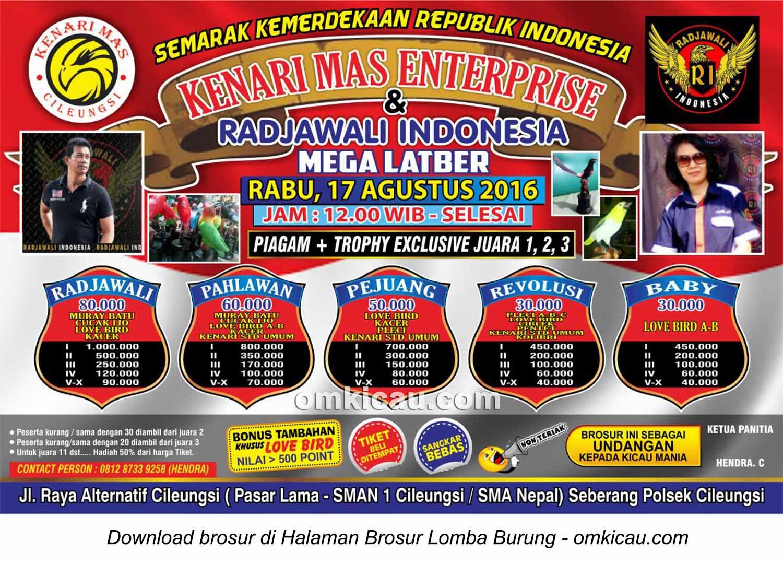 Brosur Mega Latber Kenari Mas Enterprise dan Radjawali Indonesia, Cileungsi, 17 Agustus 2016