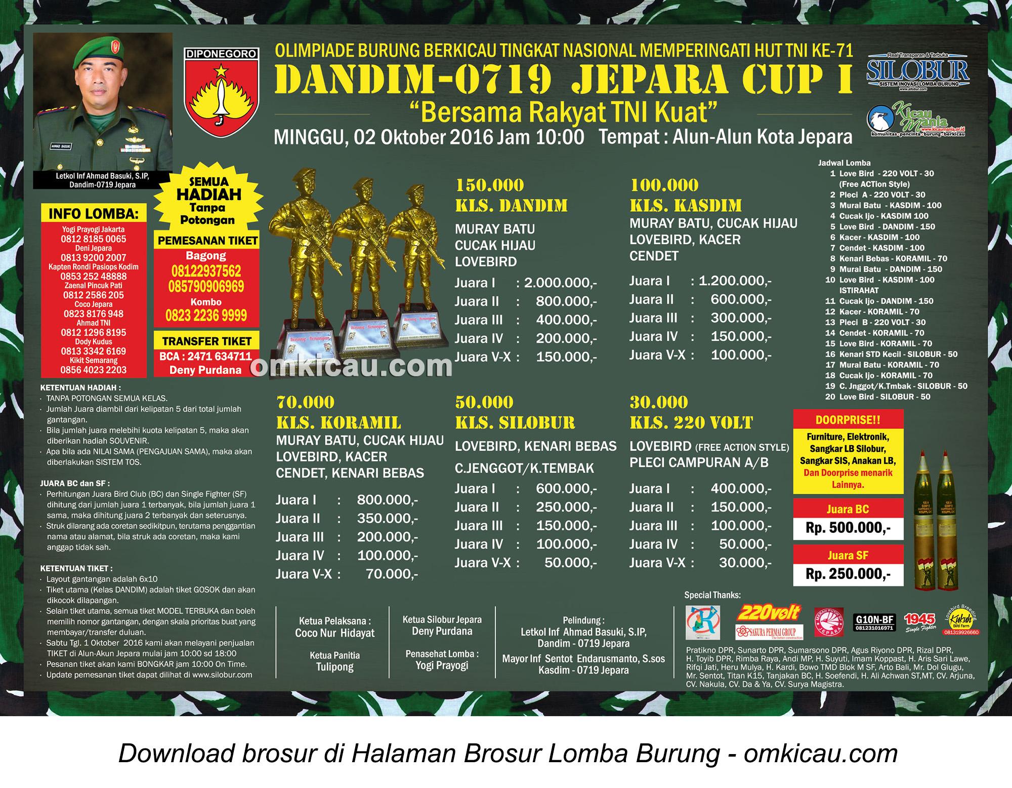 Brosur Revisi Lomba Burung Berkicau Dandim-0719 Jepara Cup, 2 Oktober 2016