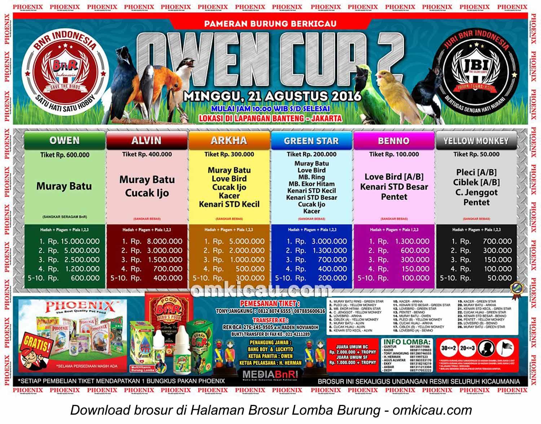 Brosur Revisi Lomba Burung Berkicau Owen Cup 2, Jakarta, 21 Agustus 2016