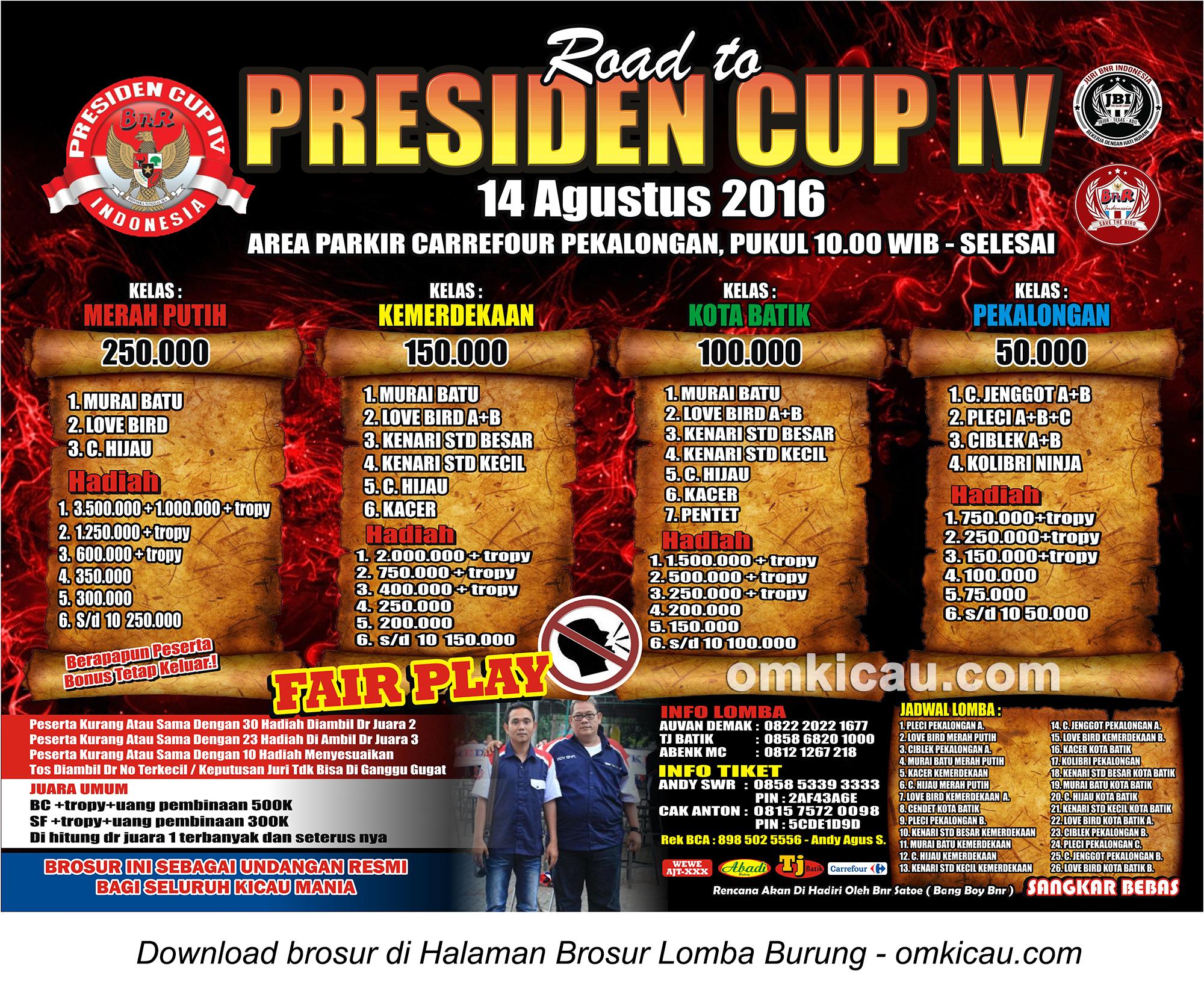 Brosur Revisi Lomba Burung Berkicau Road to Presiden Cup IV, Pekalongan, 14 Agustus 2016