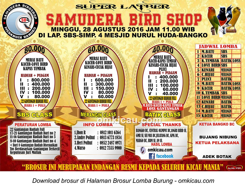 Brosur Super Latber Samudera Bird Shop, Bangko, 28 Agustus 2016