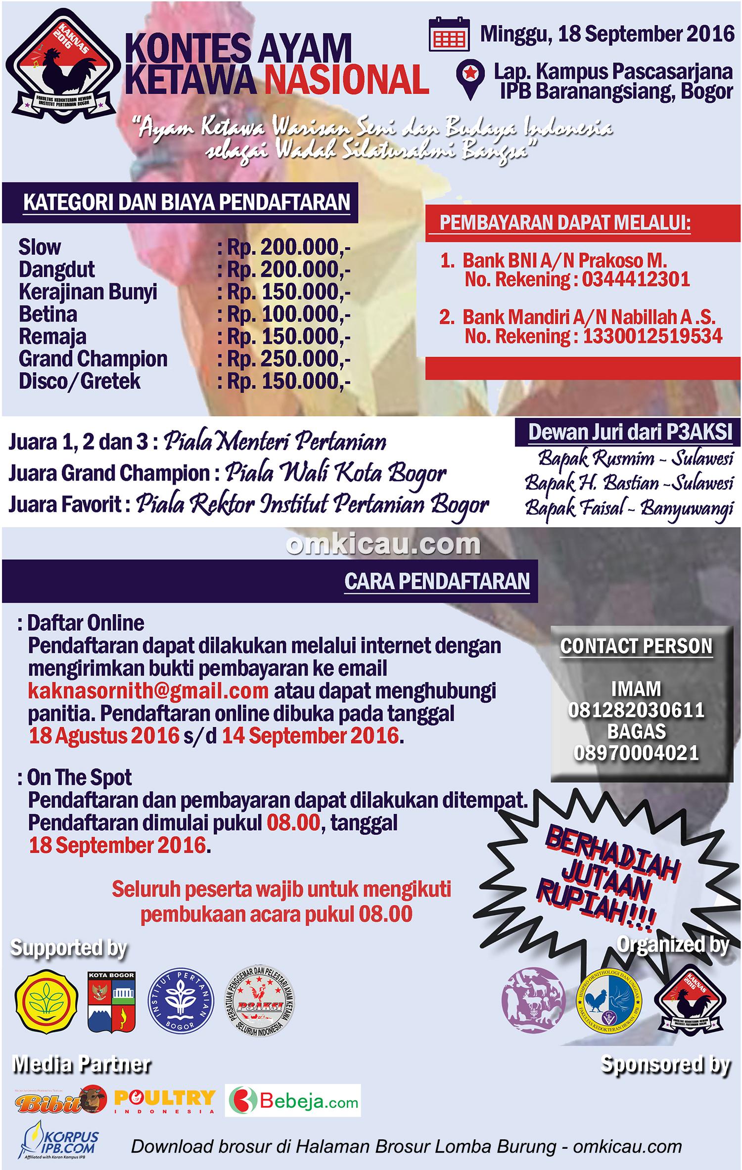 Brosur Kontes Ayam Ketawa Nasional, IPB Bogor, 18 September 2016